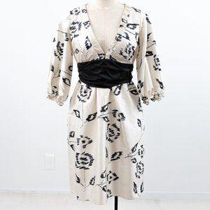 Silk Shantung S Watercolor Ikat Party Dress White